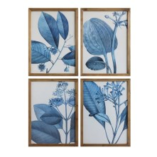'Blue Botanical' 4 Piece Framed Painting Print Set