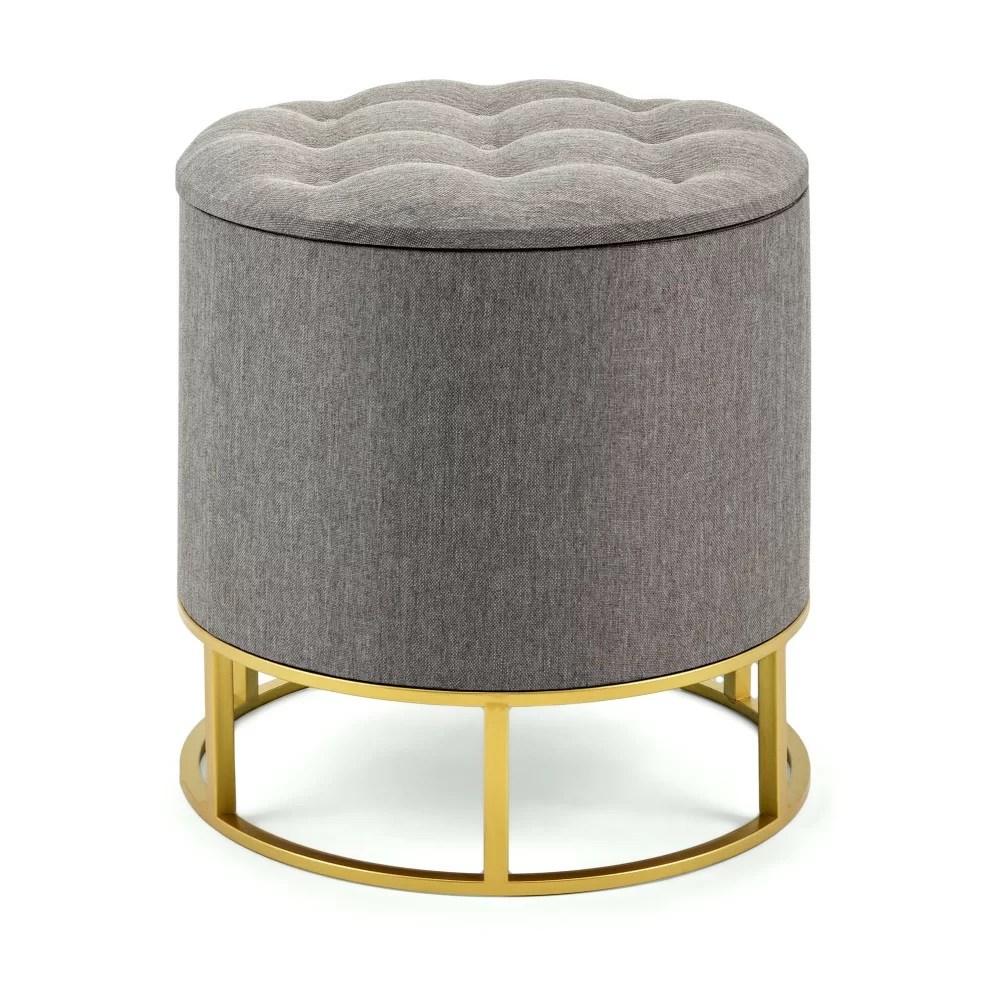 ellie round metal base tufted storage ottoman