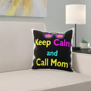 parody hipster crown and sunglasses keep calm and call mom pillow cover