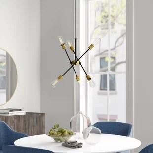 waycross 6 light sputnik modern linear chandelier