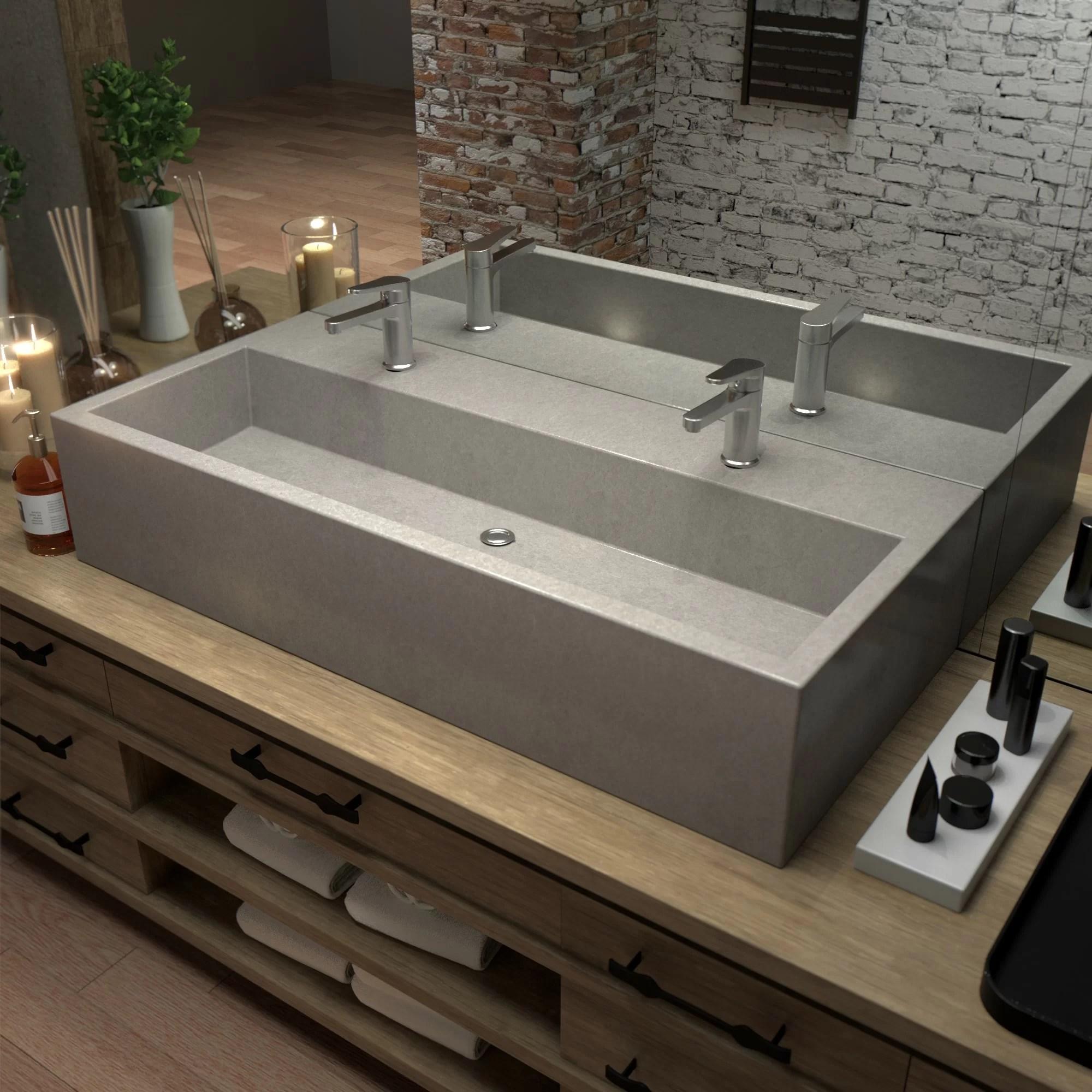 farmhouse rectangular trough bathroom sink
