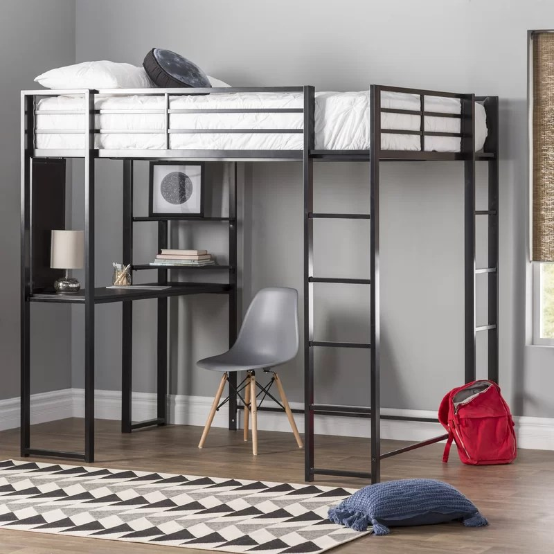 Aime Loft Bed with Bookcase