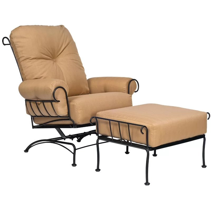 terrace spring patio chair with cushion and ottoman