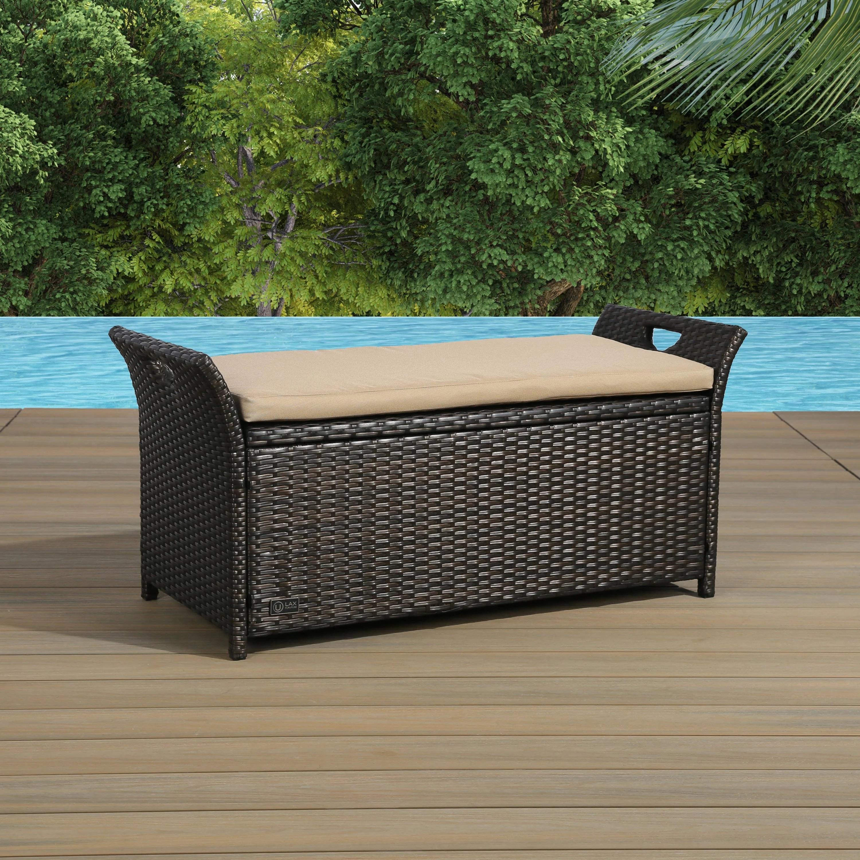 outdoor storage bench rattan style deck box w cushion