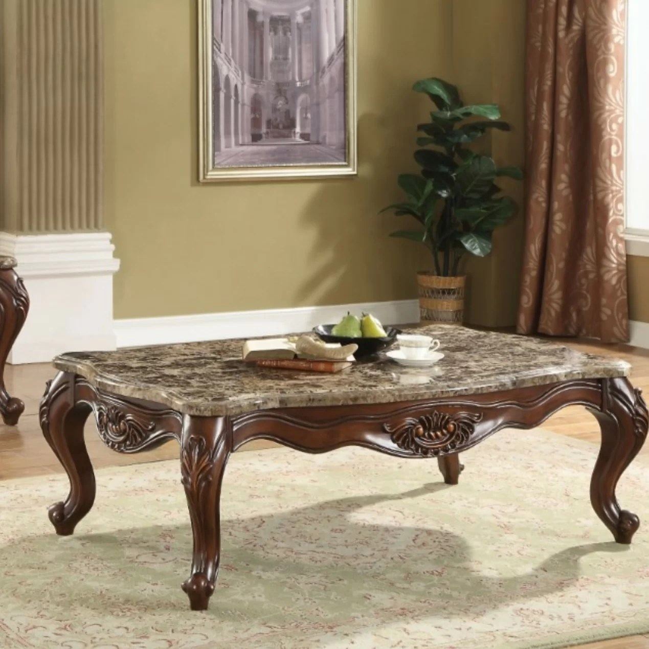 ardelia traditional rectangular marble and wooden coffee table