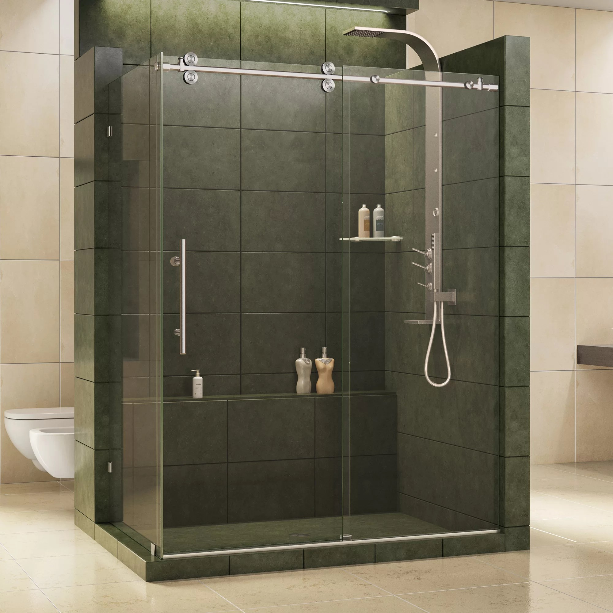 Enigma 60 5 X 79 Single Sliding Frameless Shower Door With Clearmax Technology