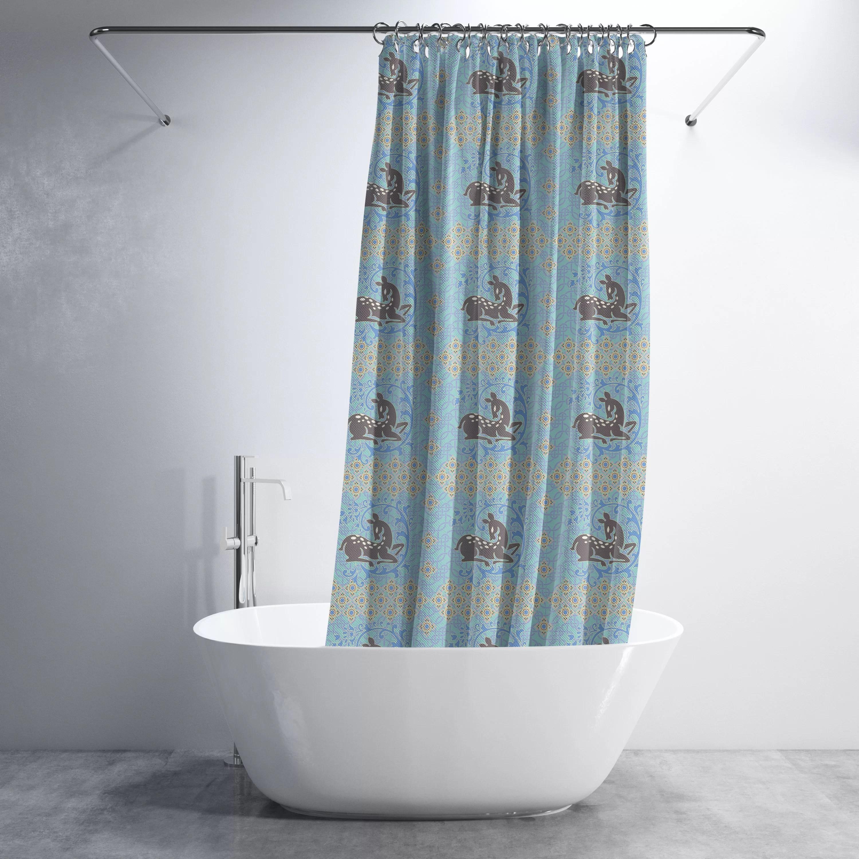 Deer Nature Luxury Shower Curtain Set Hooks