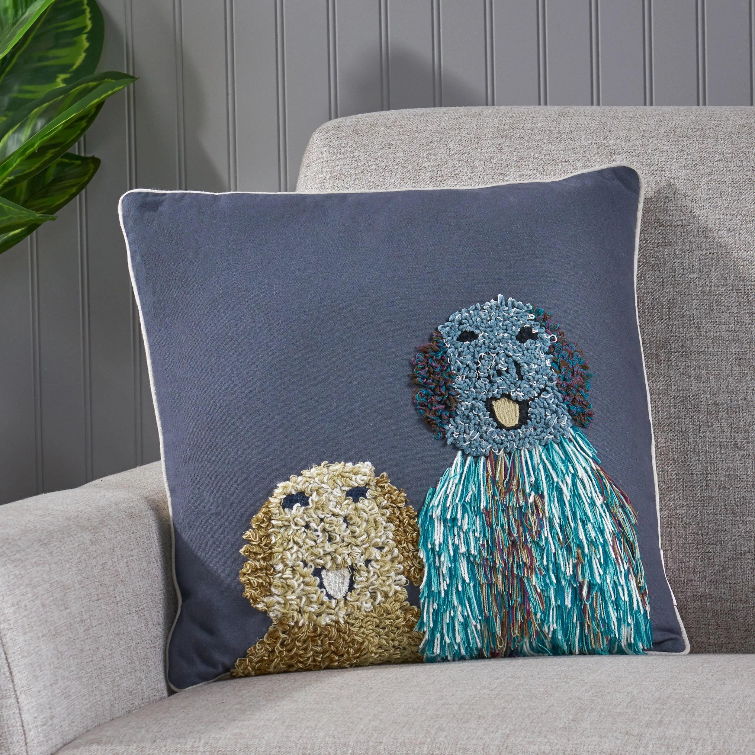 corbin dog cotton 18 throw pillow cover
