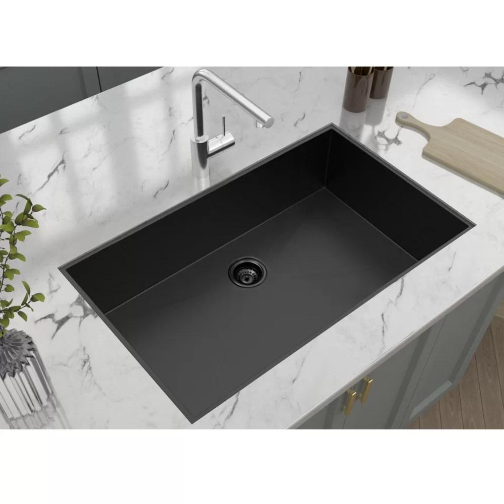 stainless steel 36 l x 21 w undermount kitchen sink with basket strainer