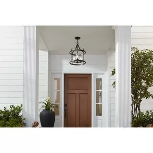 donelson black weathered gray 3 bulb 20 63 h outdoor hanging lantern