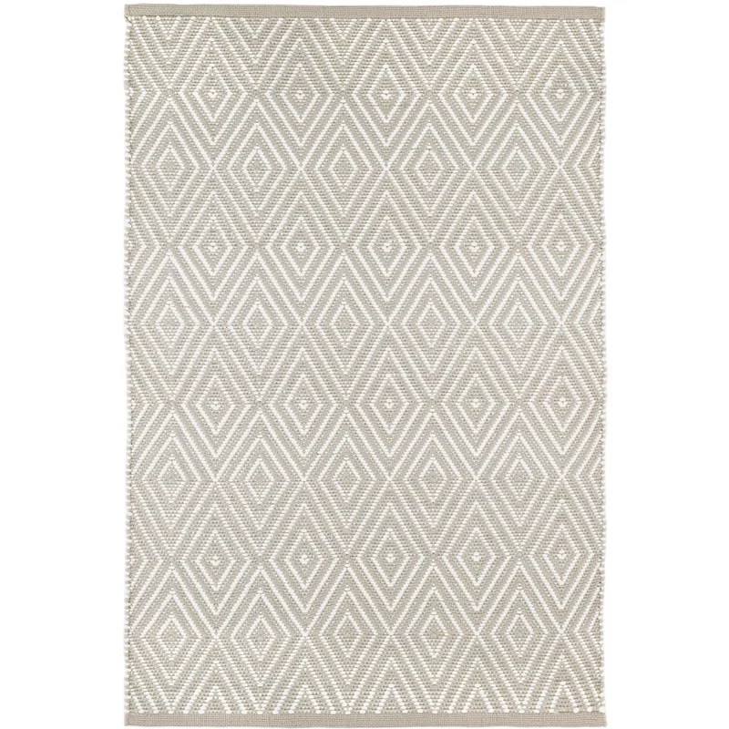 diamond geometric handmade flatweave gray white indoor outdoor area rug