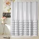 blue ruffle shower curtain wayfair