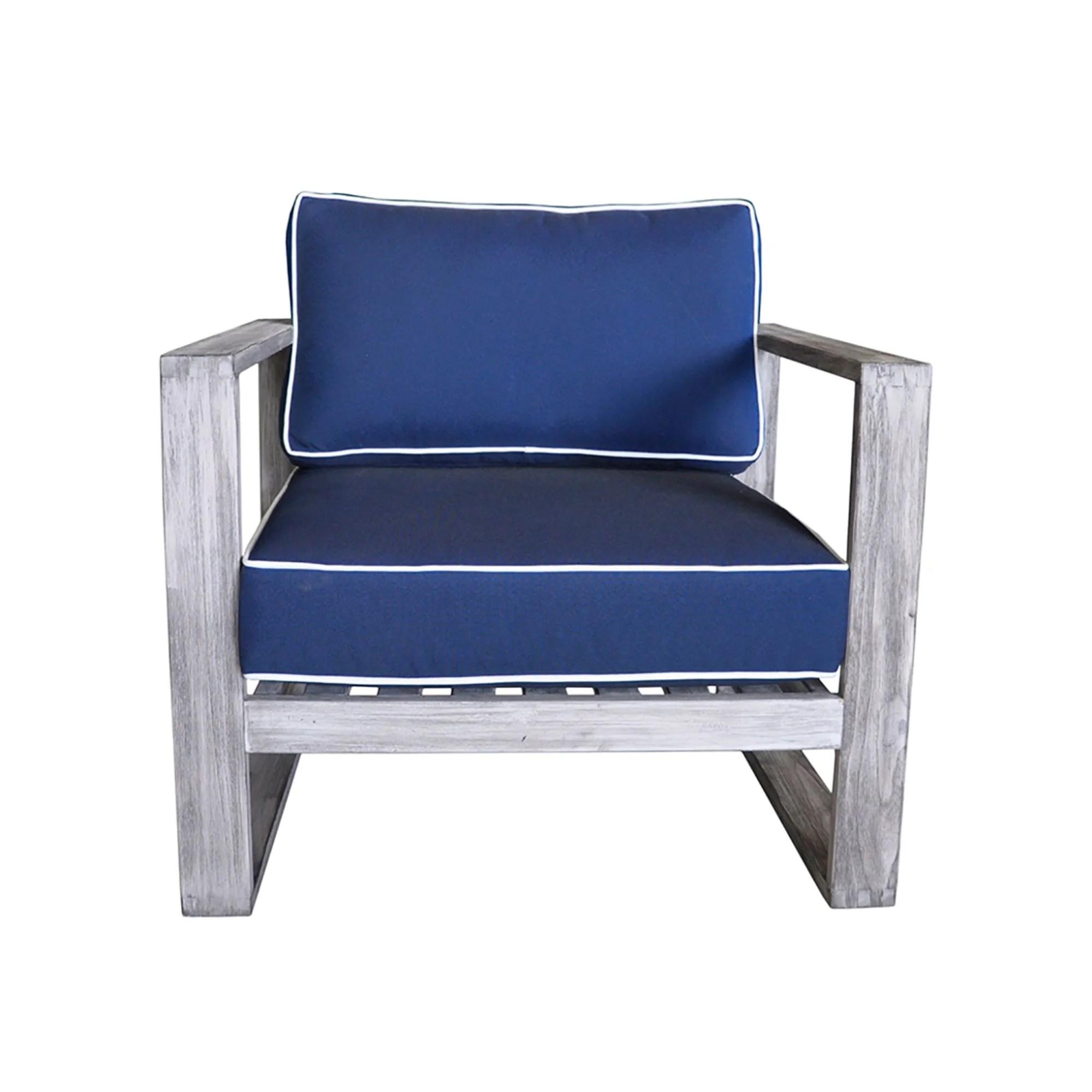 asther modern outdoor teak patio chair with sunbrella cushions