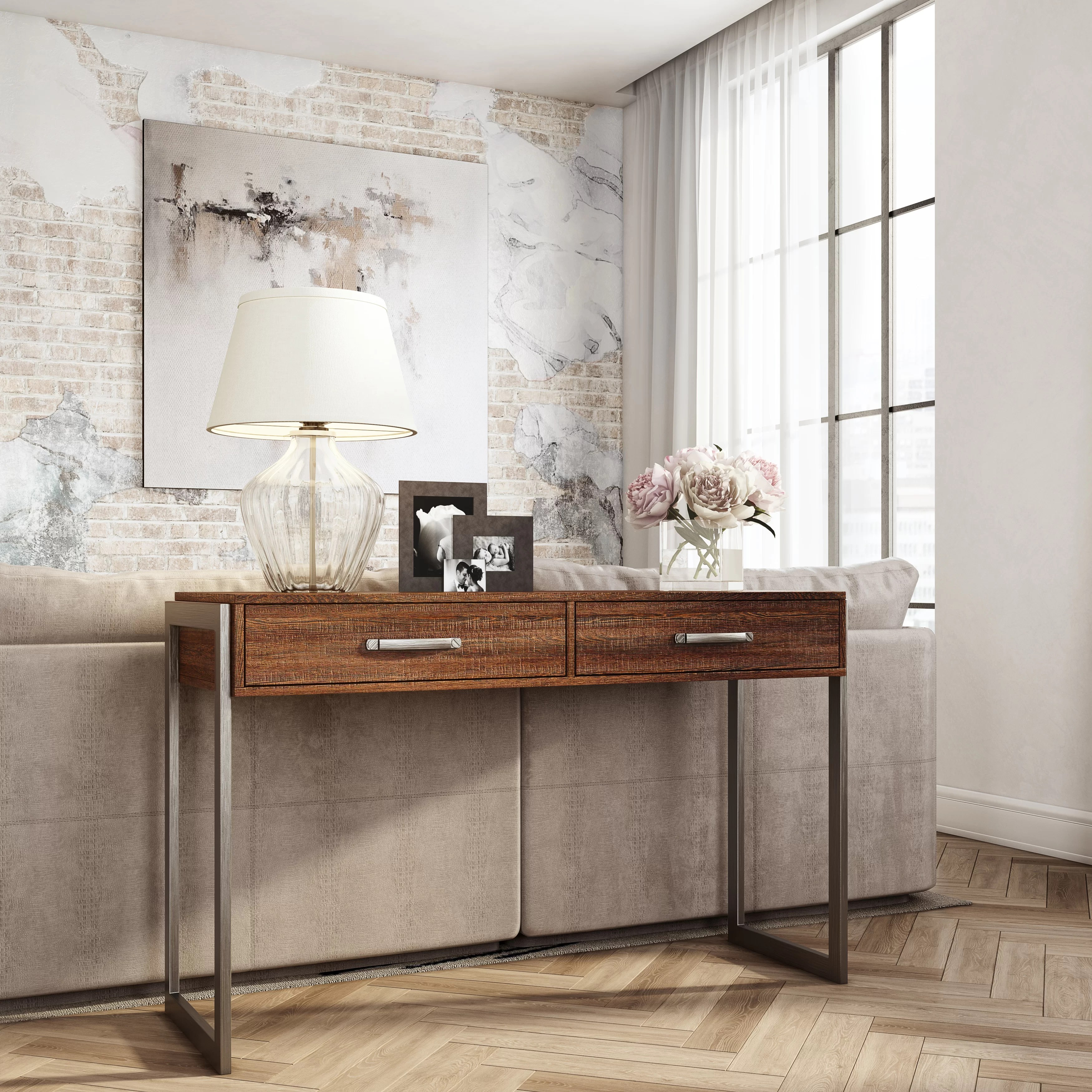 laroche heavily distressed rustic style 2 drawers storage console table