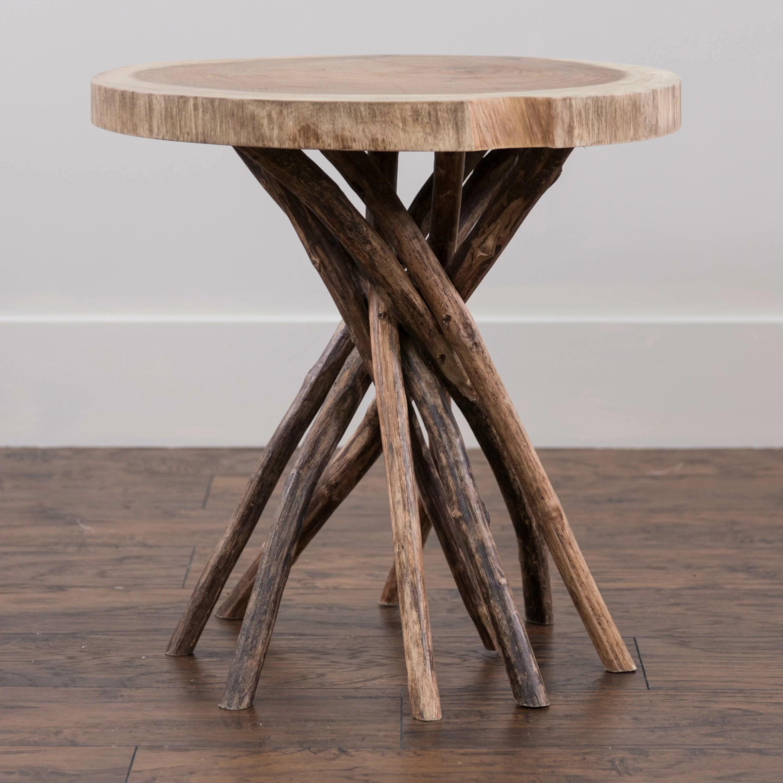 Mistana Aloysius Solid Wood Tree Stump End Table Reviews Wayfair