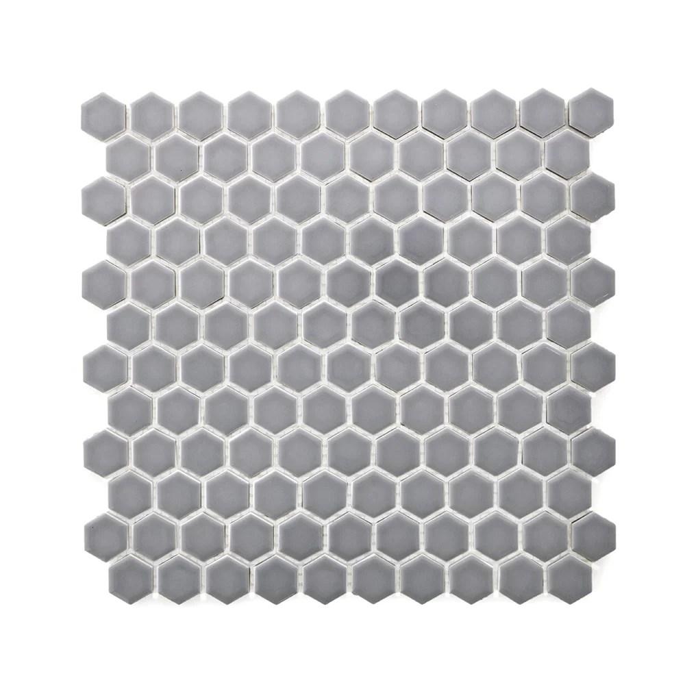 minimal hexagon 1 x 1 porcelain mosaic tile