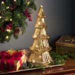 Haute Decor Lighted Faux Mercury Glass Christmas Tabletop Tree Reviews