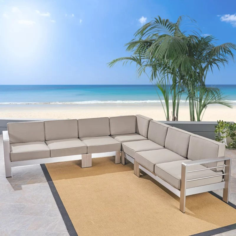 royalston 80 85 wide outdoor patio sectional with cushions