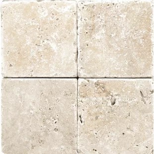 rustic tumbled 4 x 4 travertine field tile in ivory