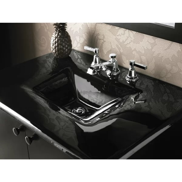 pinstripe widespread bathroom faucet with drain assembly
