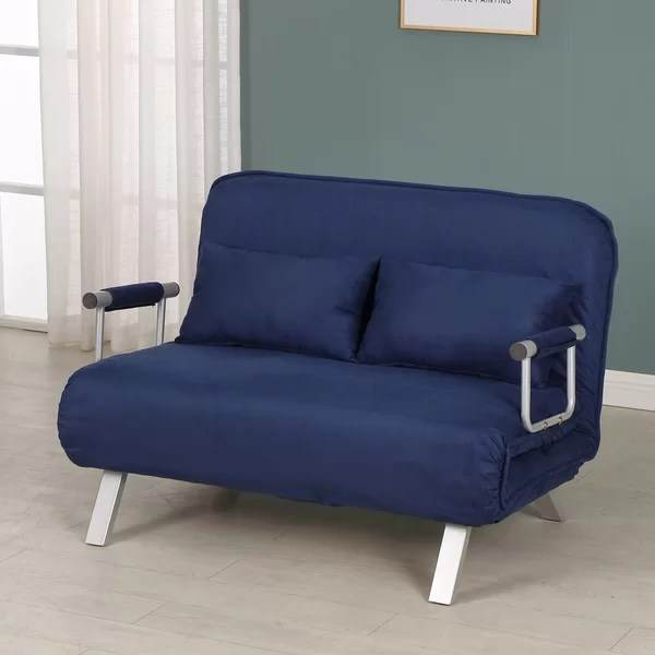 blue suede sofa