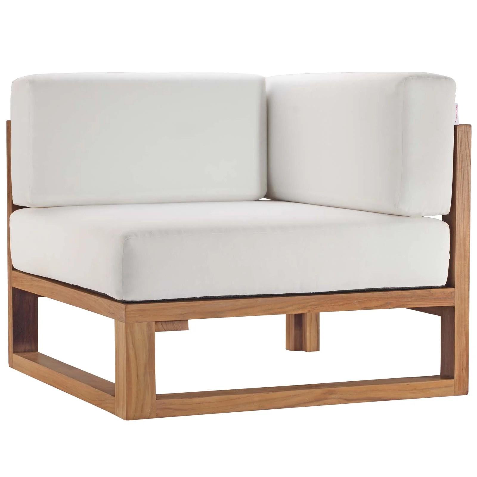 allmodern cambridge teak wood corner patio chair with cushions wayfair