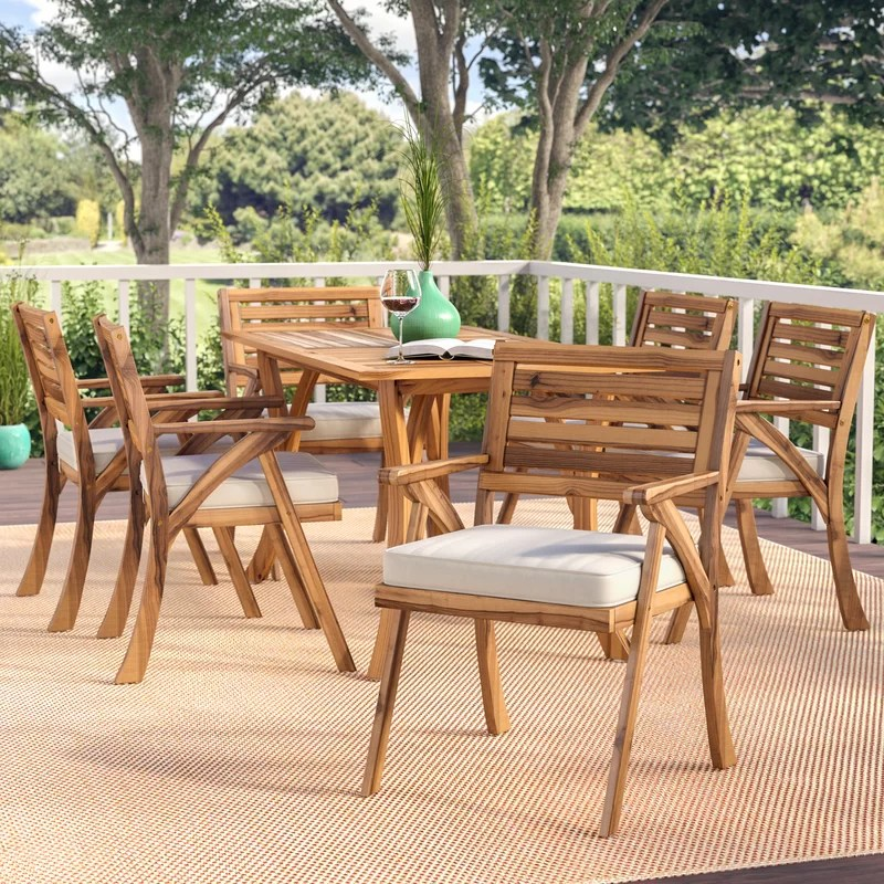 coyne rectangular 6 person 59 05 long dining set with cushions