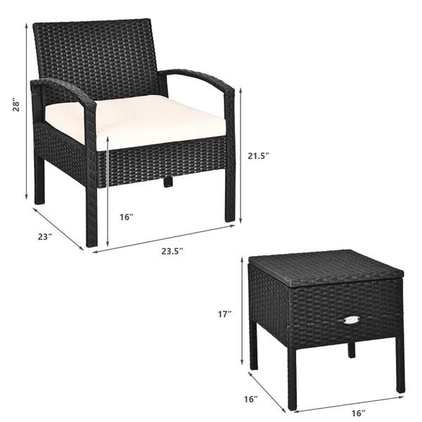 gymax 3pcs rattan patio conversation set outdoor furniture set w storage table