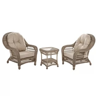 Rattan French Bistro Chairs   Wayfair Oph    lie 3 Piece Rattan Conversation Set with Cushions