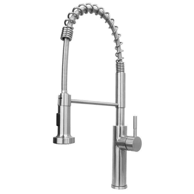 chef commercial grade pull down single handle kitchen faucet