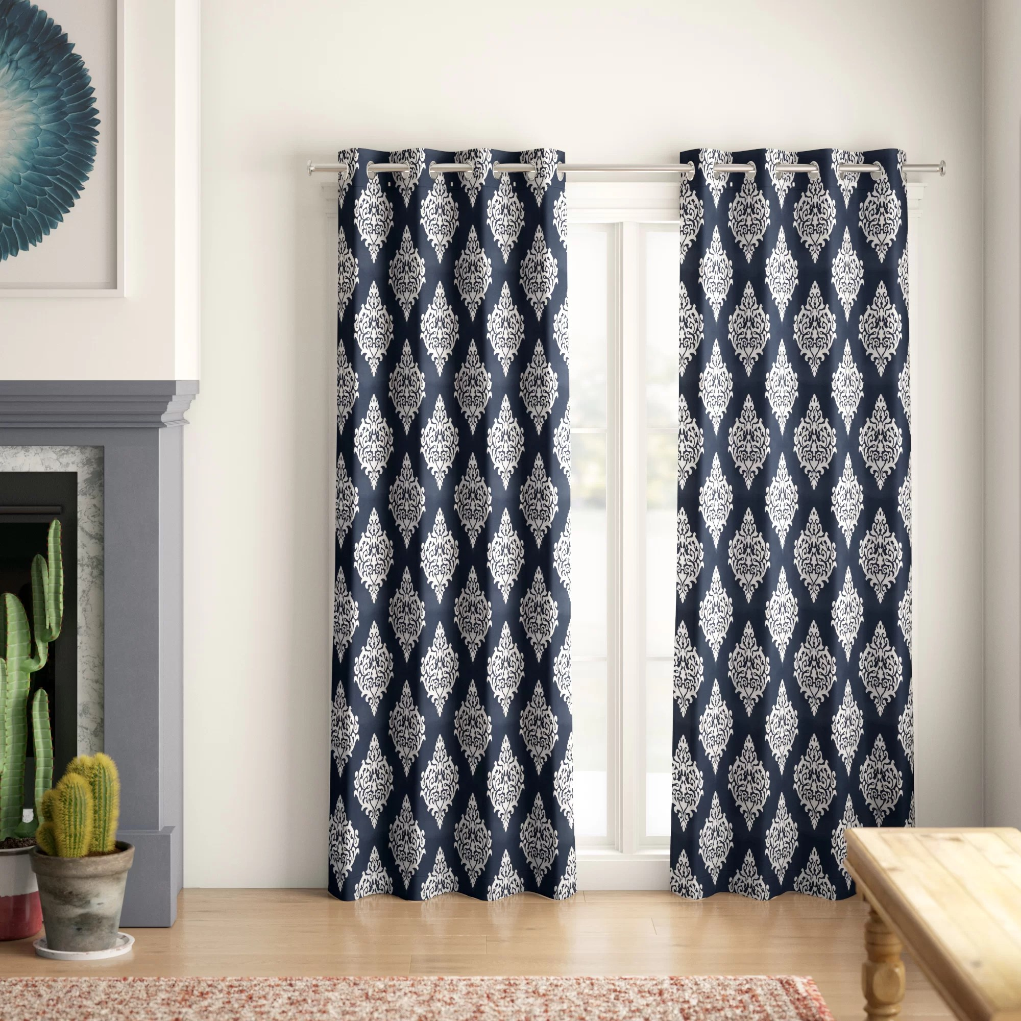 kassie damask room darkening thermal grommet curtain panels