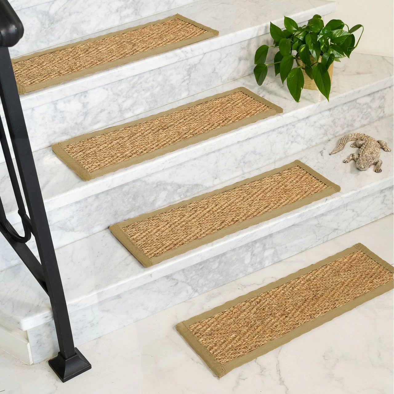 Rosecliff Heights Soperton Seagrass Carpet Stair Tread Reviews | Rug Treads For Steps | Creative | Covering | Residential | Oak | Turquoise
