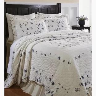 satterwhite off white floral cotton 3 piece quilt set