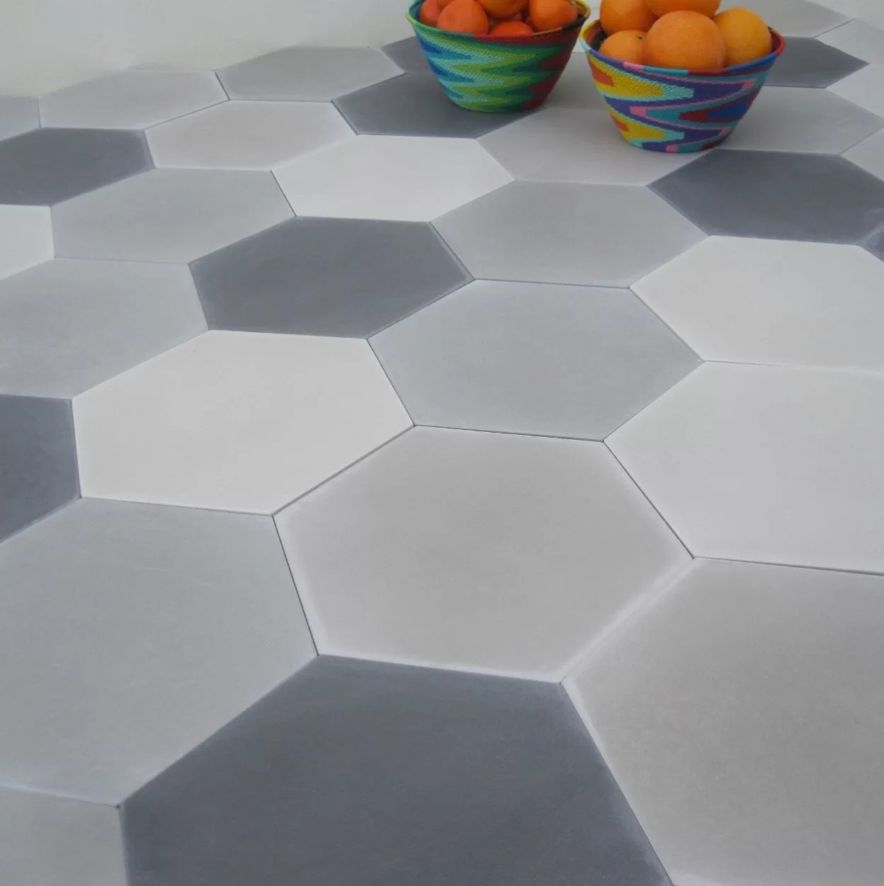 solid mixed hex cement field tile in gray