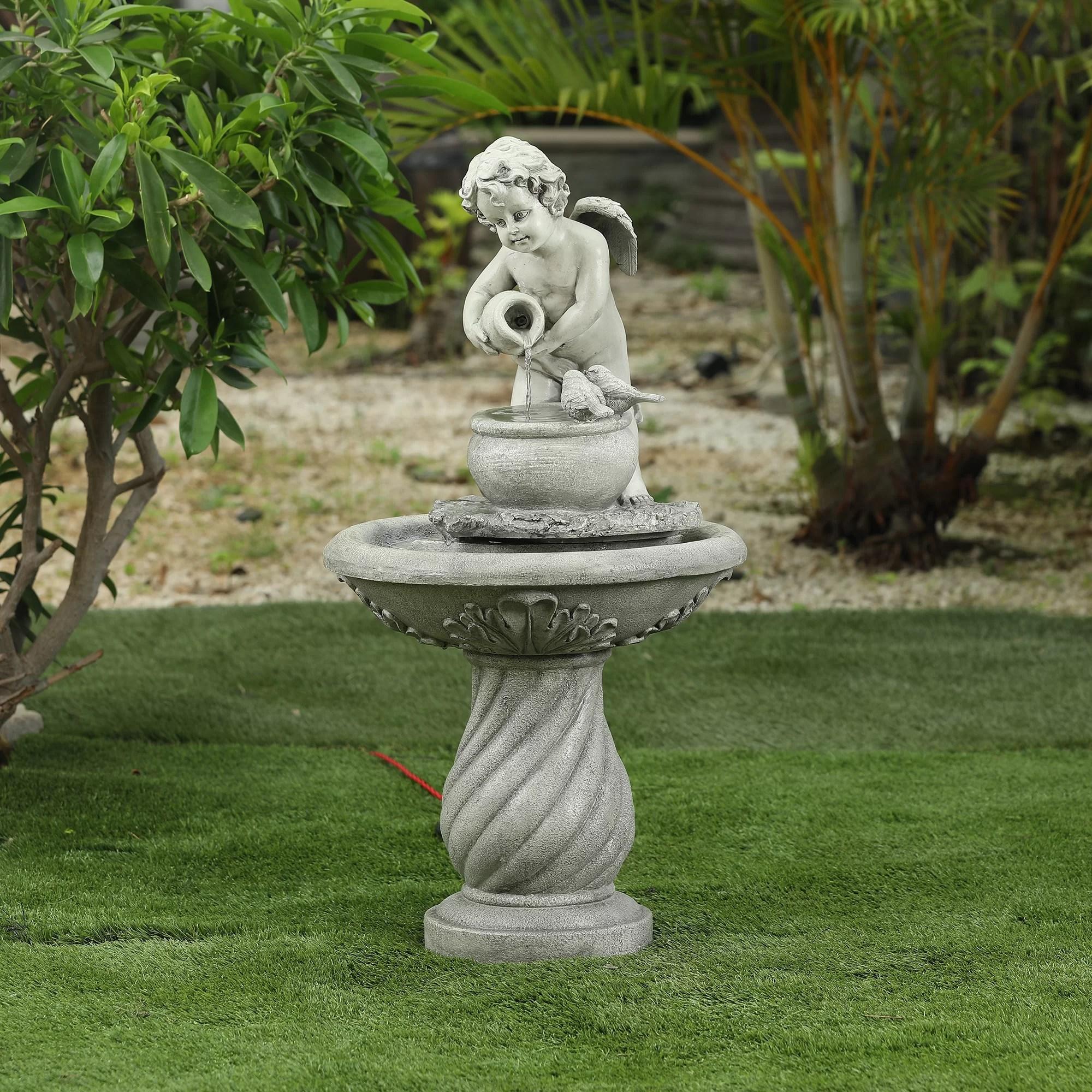 jeune resin angel patio fountain