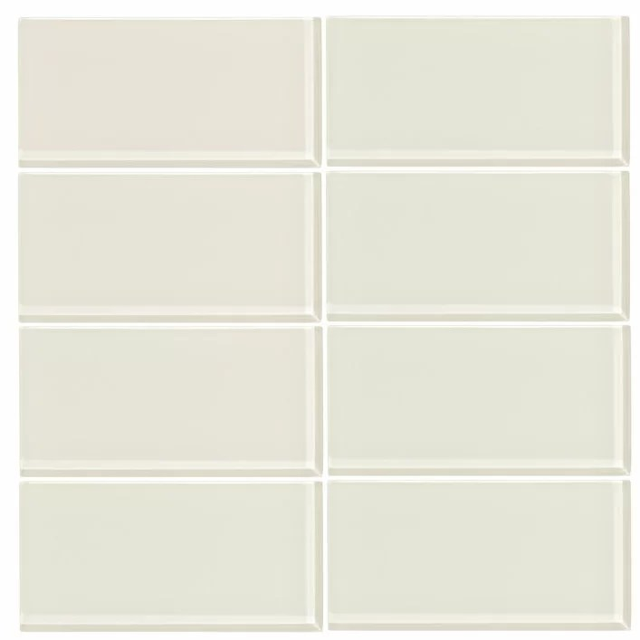 3 x 6 glass subway tile in glossy cream