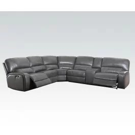 Grey Leather Sectionals With Five Recliners