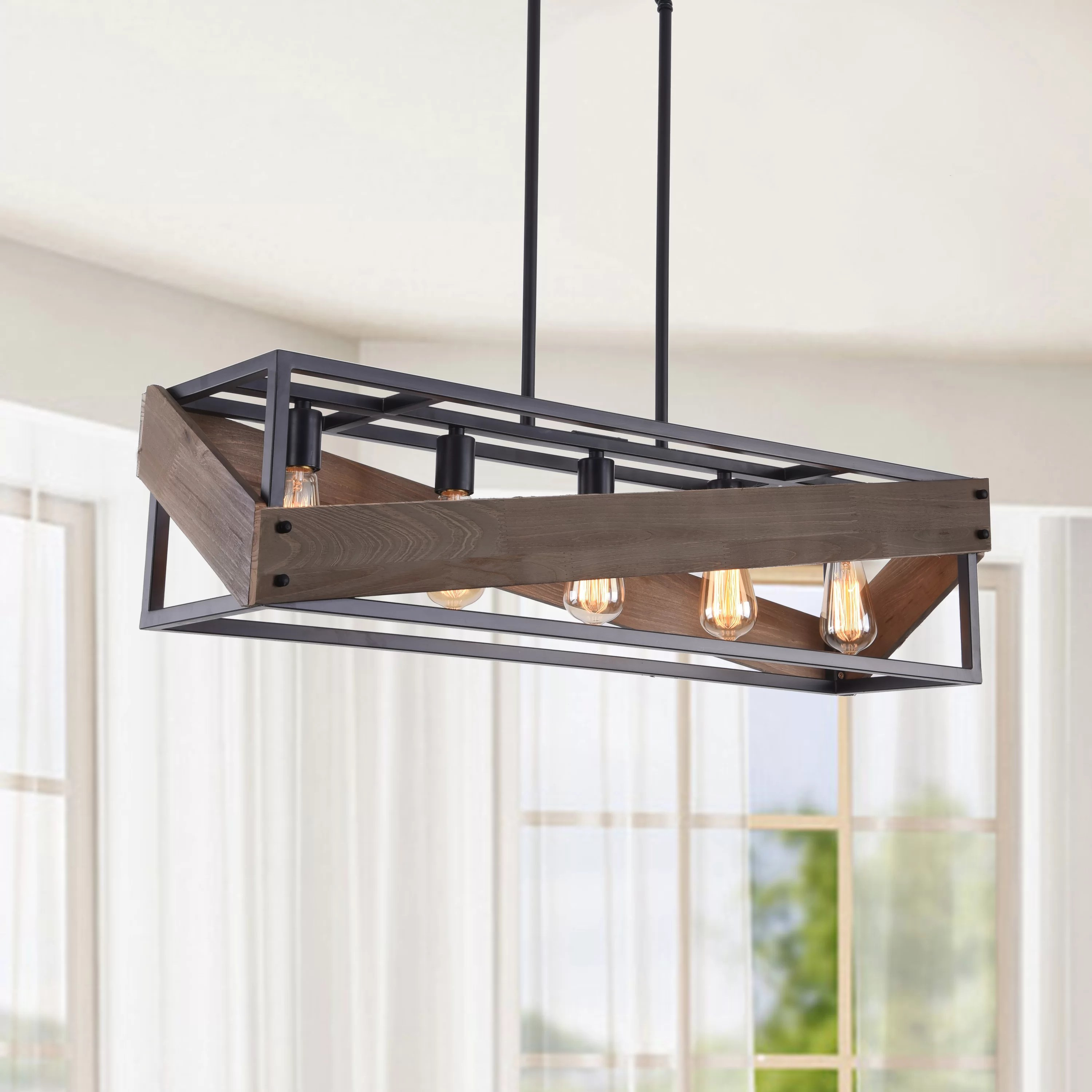Wrought Studio Burgoyne 5 Light Kitchen Island Linear Pendant With Wood Accents Reviews