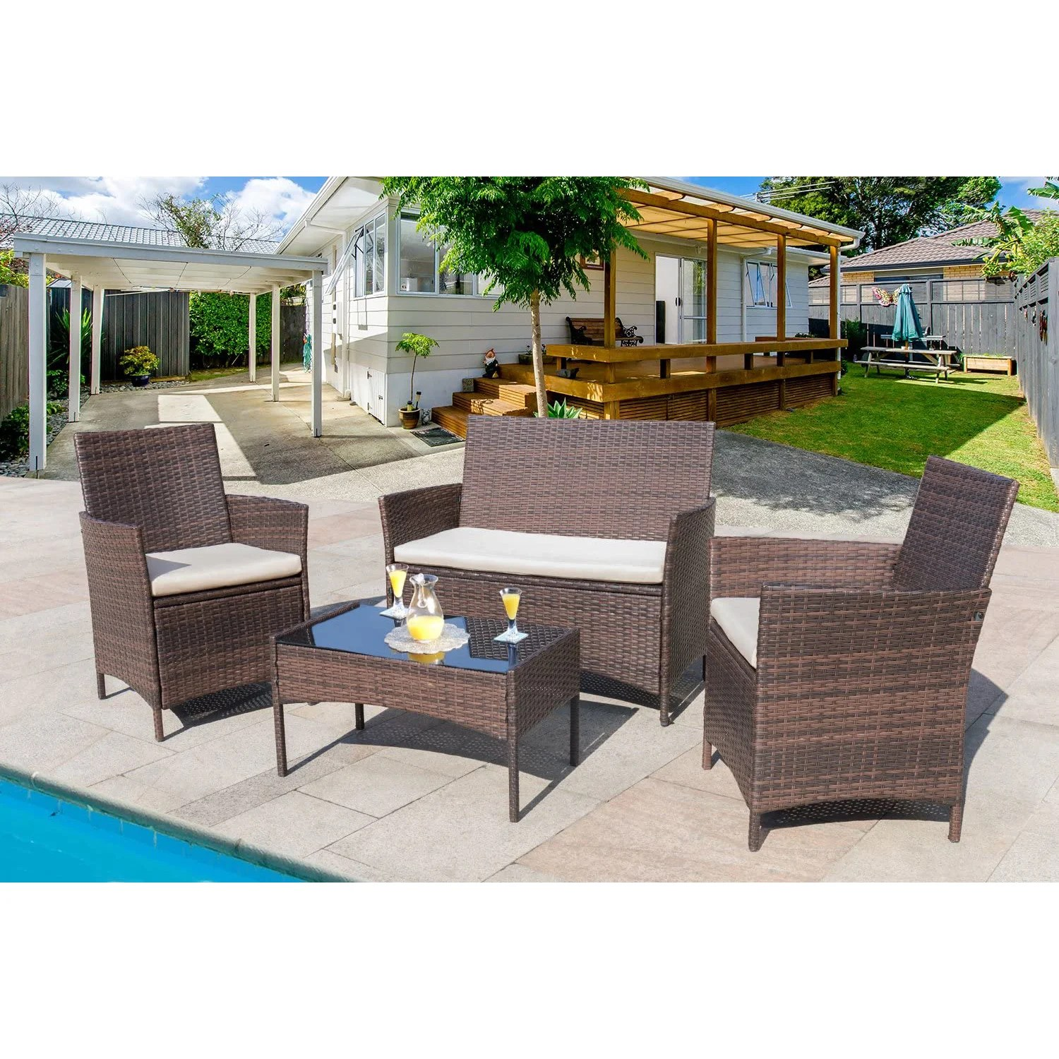 winston porter 4 pieces indoor outdoor patio furniture set with cushions