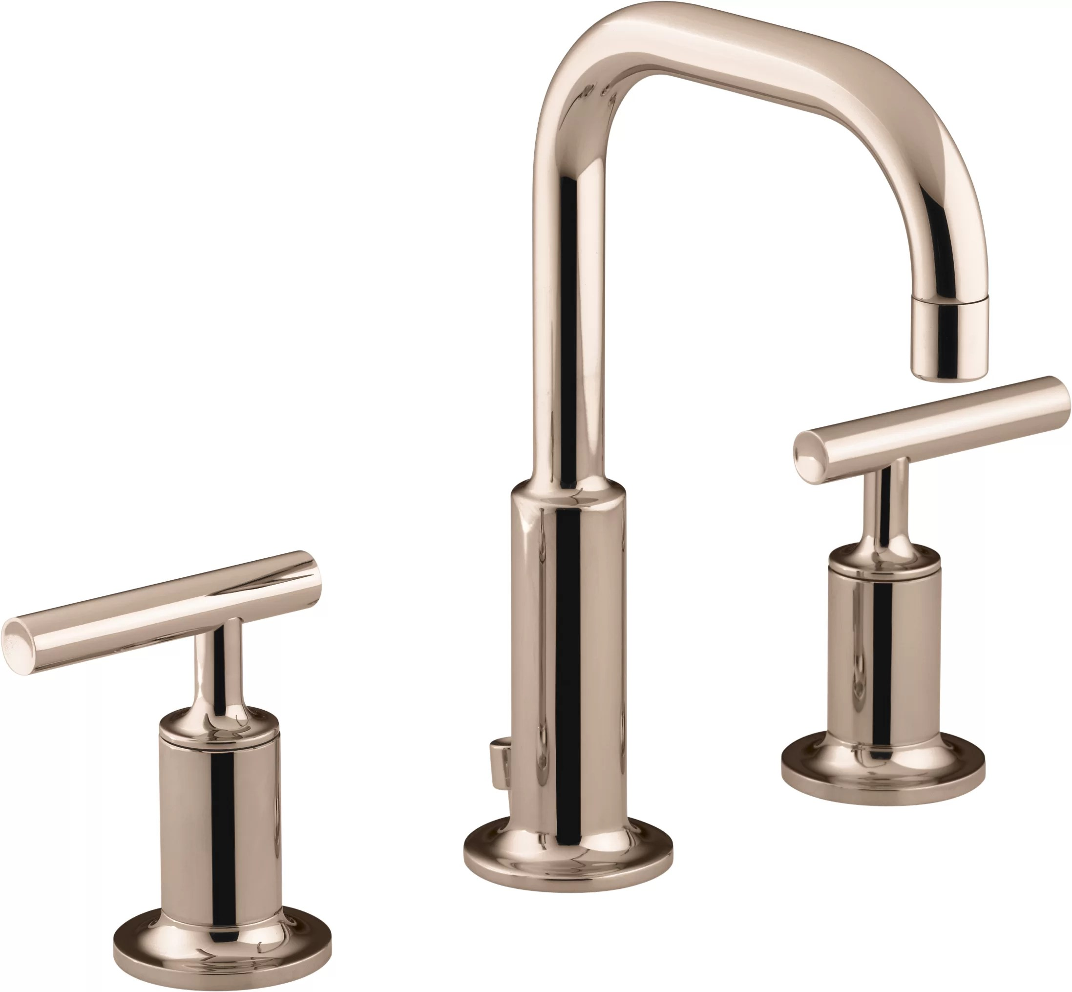 kohler purist widespread bathroom sink faucet with low lever handles and low gooseneck spout