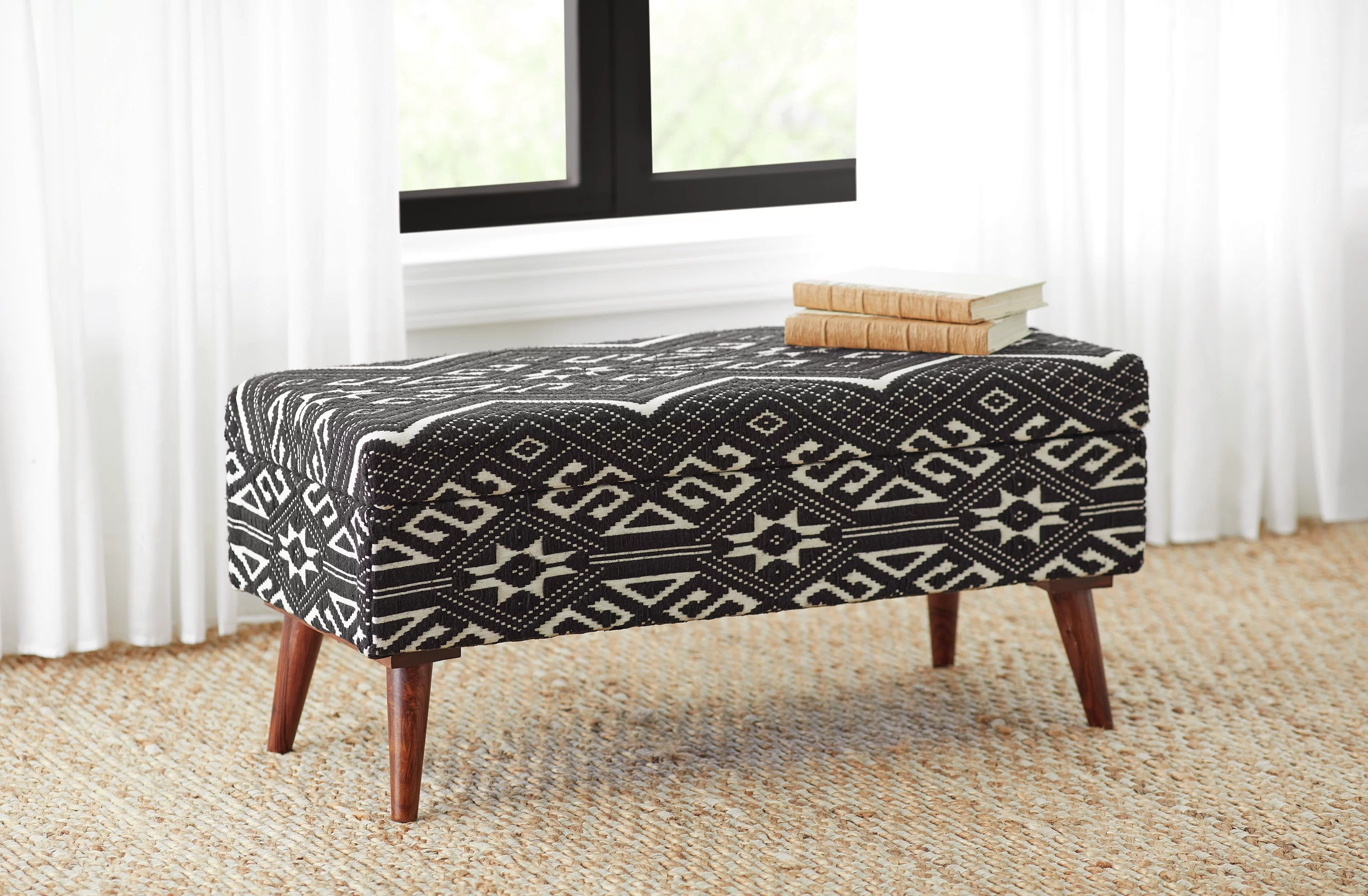 Bungalow Rose Upholstered Bench Black And White Reviews Wayfair