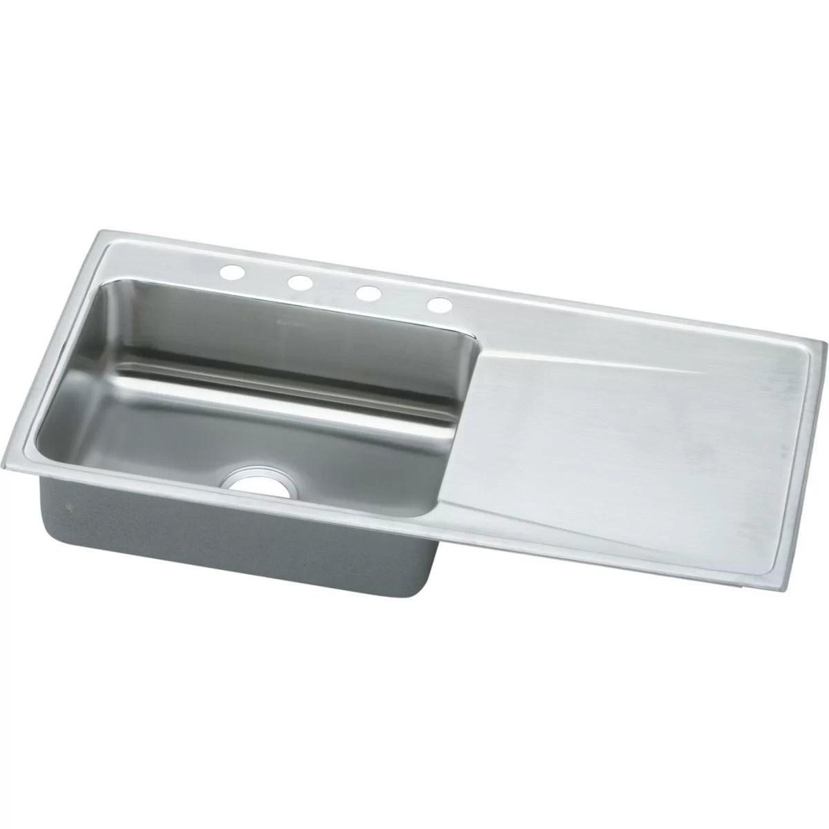 lustertone 43 l x 22 w drop in kitchen sink with drainboard