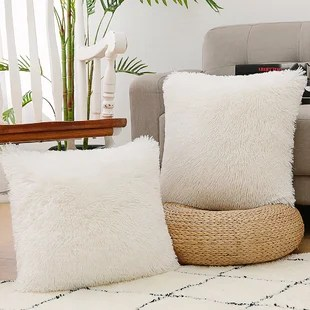 nordeco home luxury soft faux fur fleece cushion cover pillowcase decorative throw pillows covers no pillow insert 18 x 18 inch white 2 pack