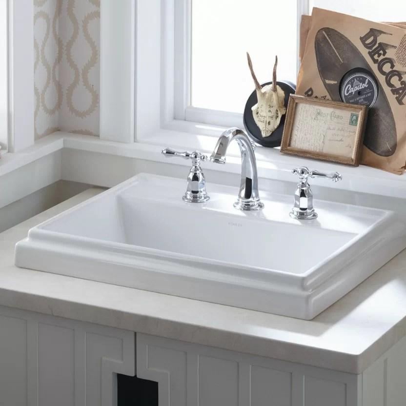 tresham ceramic rectangular drop in bathroom sink with overflow