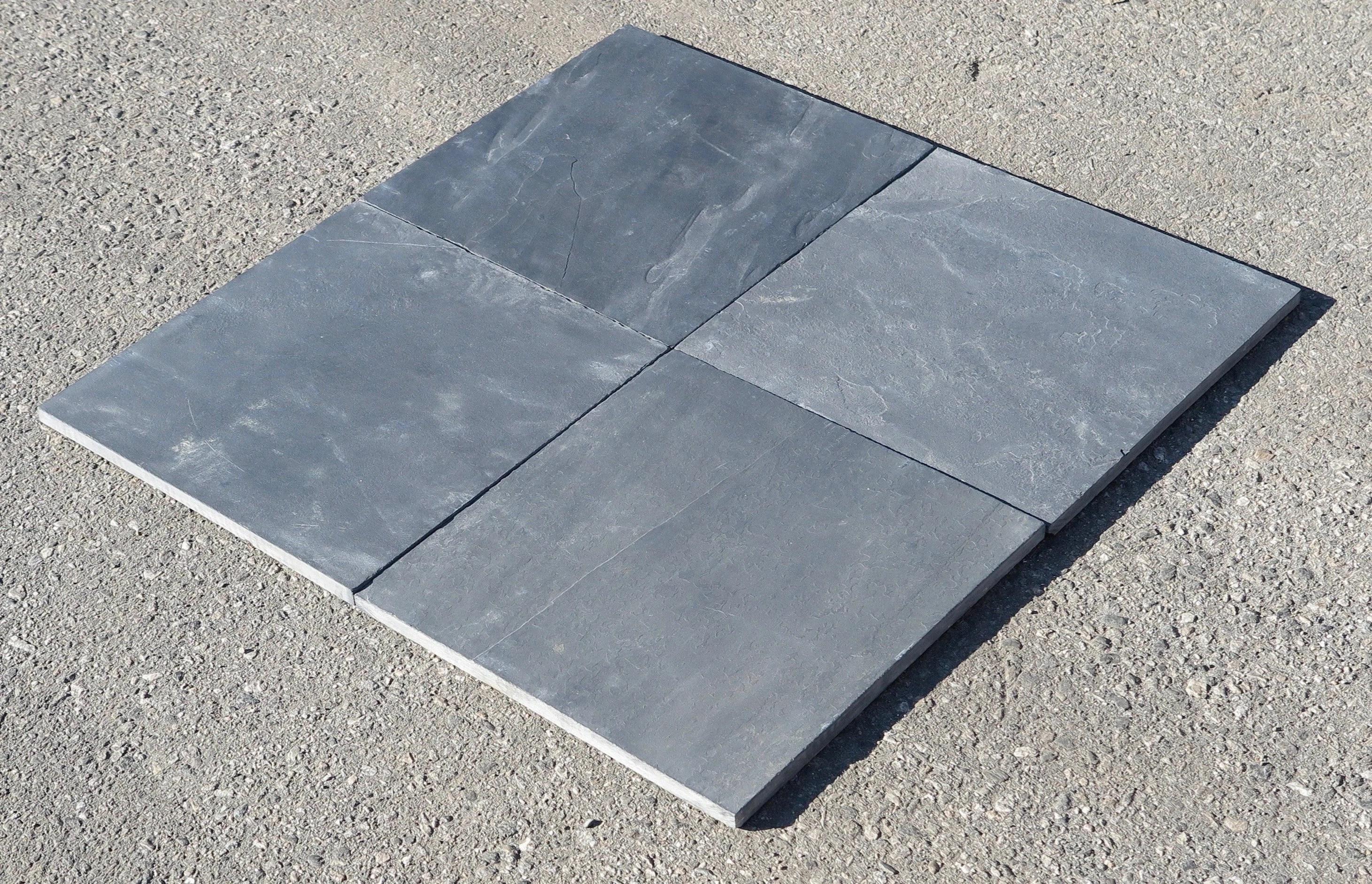 silver blue natural cleft face back 16x16 slate field tile