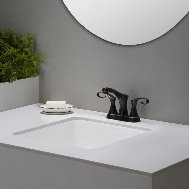Square undermount bathroom sinks