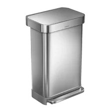 round extra small coutertop wastebasket with swing lid chrome bathroom