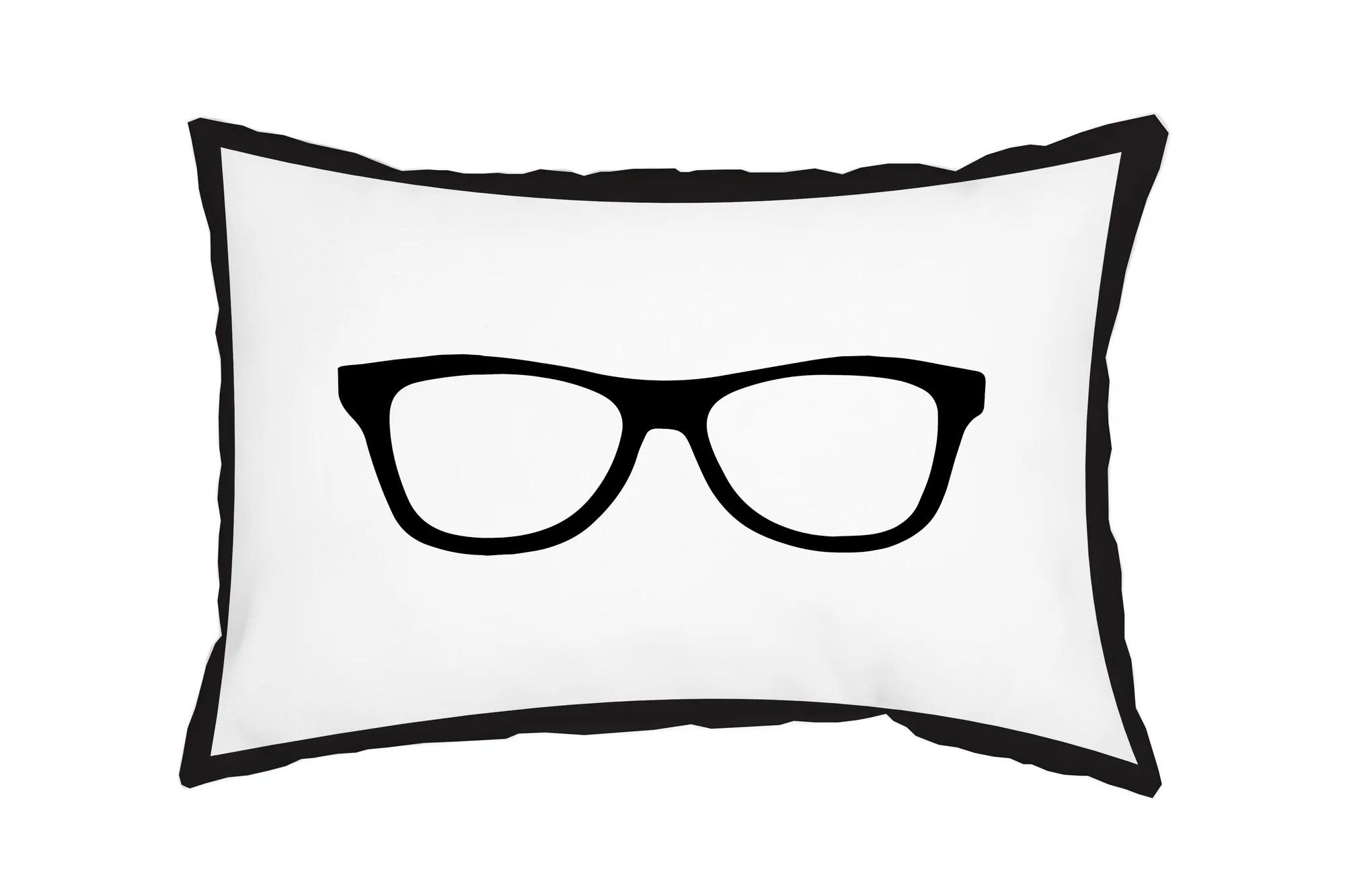 One Bella Casa Gingham Nerd Glasses Lumbar Pillow