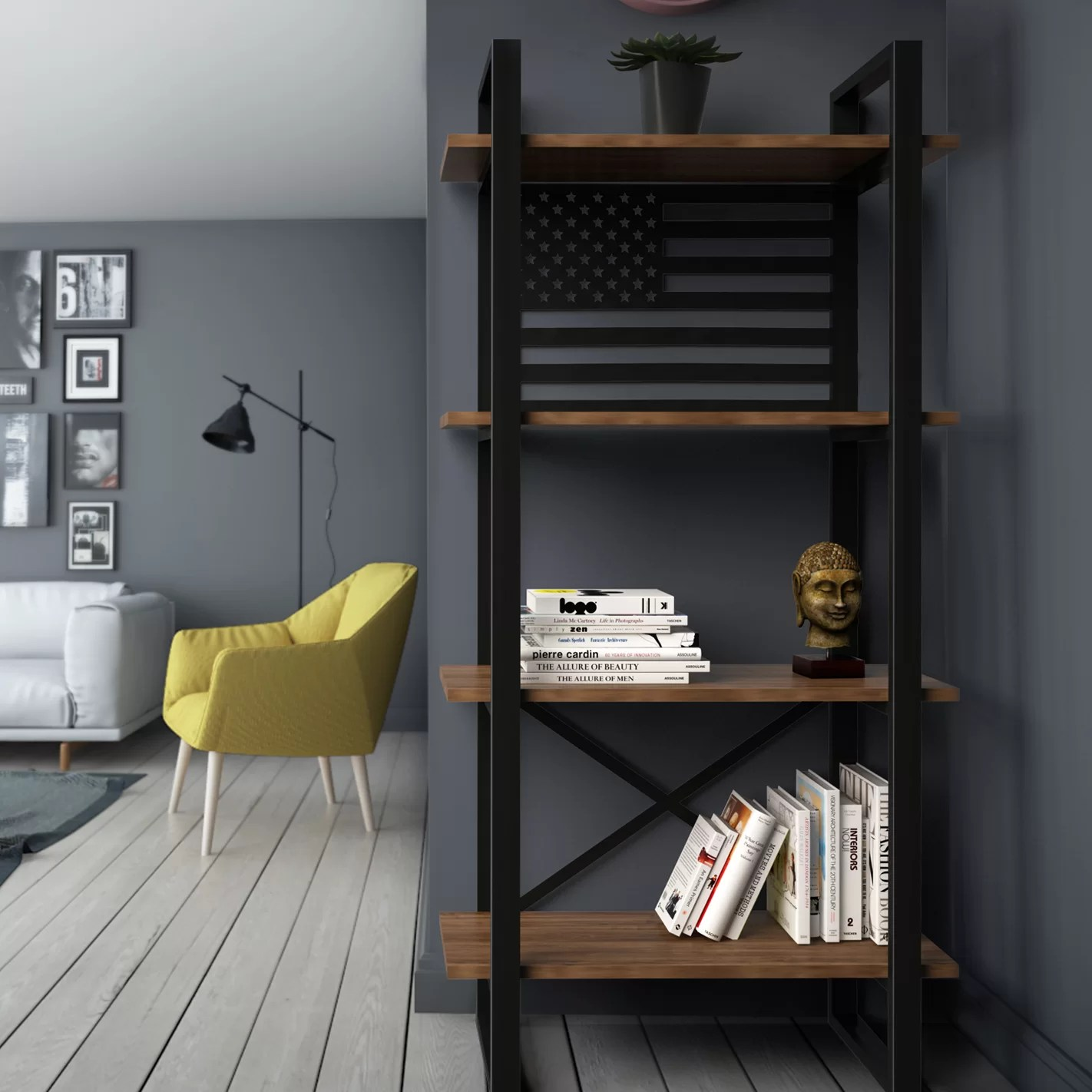 Details About Foundry Select Argueta United Modern Rustic Iron Standard Bookcase