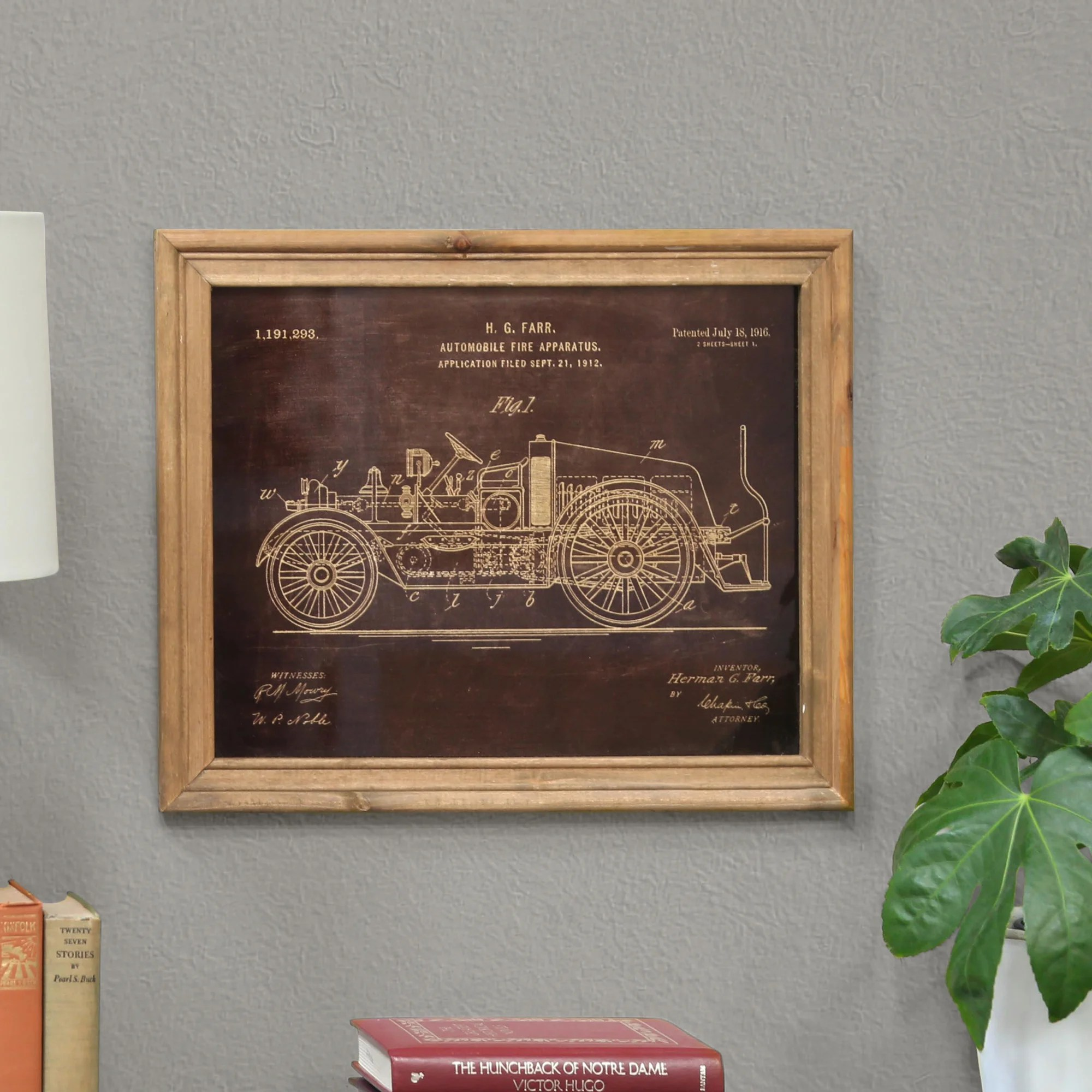 Williston Forge Fire Truck Patent Framed Print On